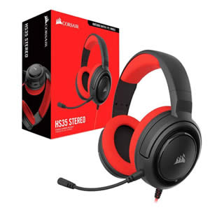 HEADSET AUDIFONOS GAMING CORSAIR HS35 WIRED FOR PC PS4 XBOX One Rojo
